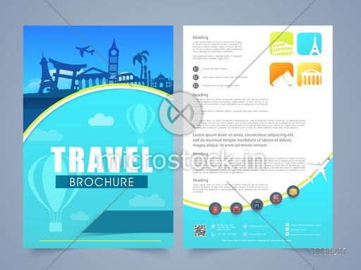 Two Page Brochure, Template or Flyer design for Tour and Travel, Business concept.