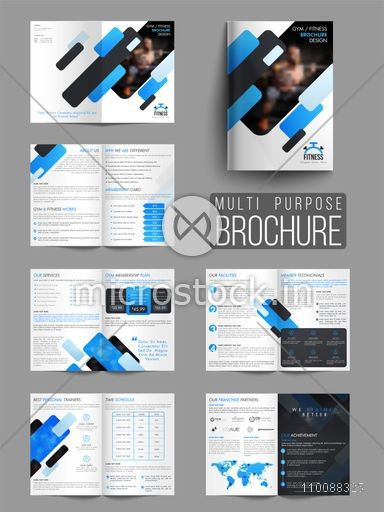 Professional Gym Or Fitness Brochure Set With Front, Inner Or Back