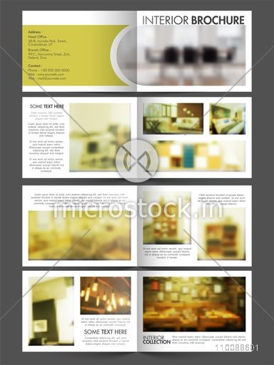 Professional Eight Pages Interior Business Brochure Set including Cover, Inner or Back Presentations and space to add images.