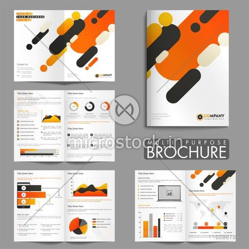 Creative multi purpose eight pages Brochure set with different statistical infographic elements for Business Annual Reports, Cover Design and Presentations.