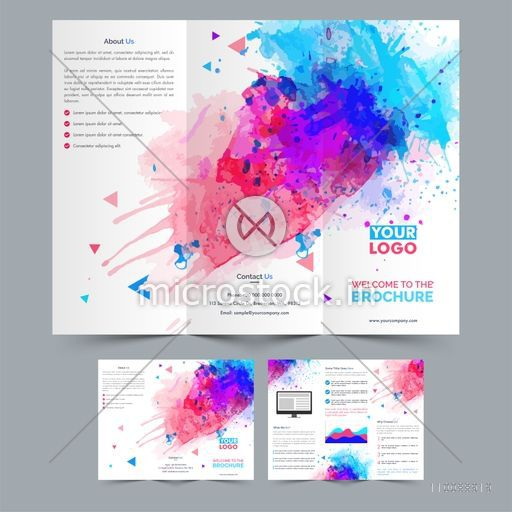 Professional Tri-Fold Brochure design with abstract colorful splash for your Business.