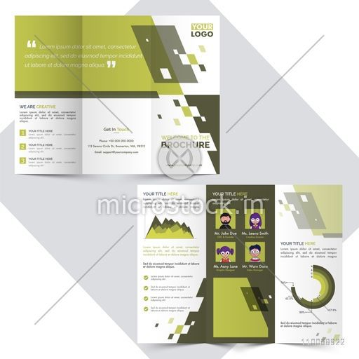 Front and back page presentation of Creative Tri-Fold Brochure for Business concept.