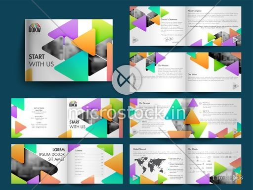 Professional Twelve Pages Business Brochure Set with colorful abstract triangles and Cover, Inner or Back Presentation.
