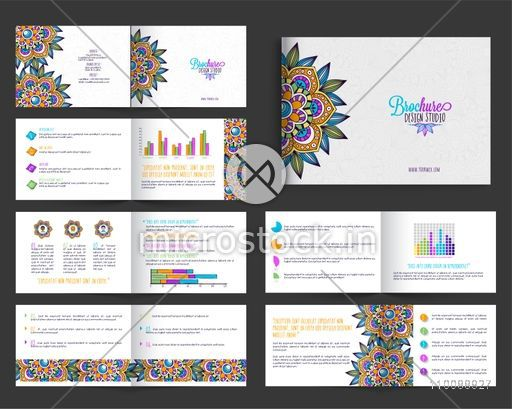 Beautiful floral design decorated, Creative Brochure set with front, inner and back pages presentation.