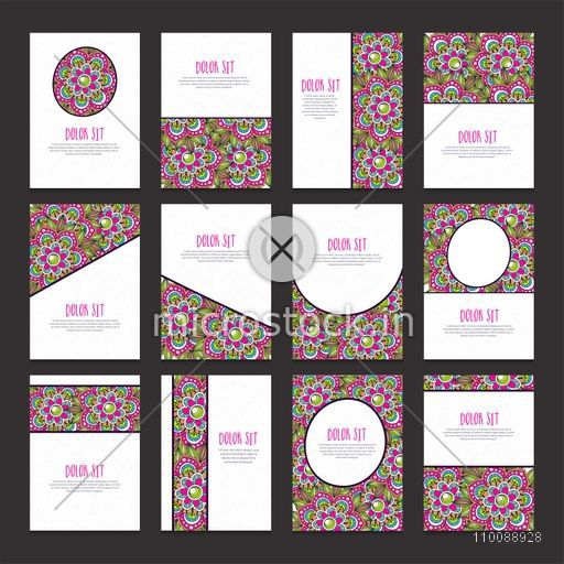 Complete set of creative Business Brochure, Template with beautiful floral design decoration.
