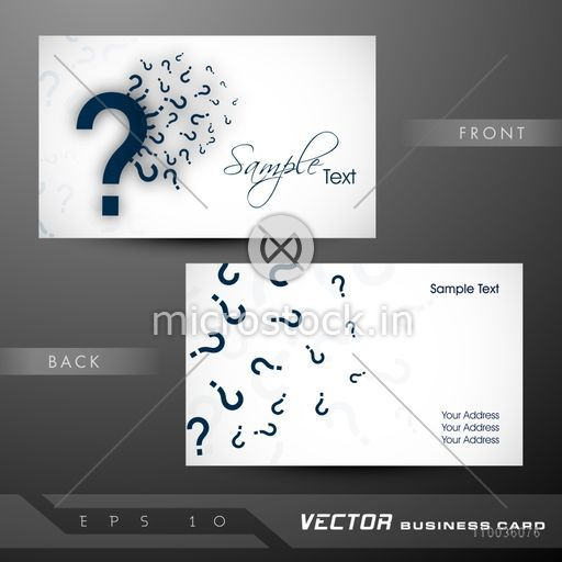 Business card name card call card or visiting card set with business card name card call card or visiting card set with question marks reheart Images