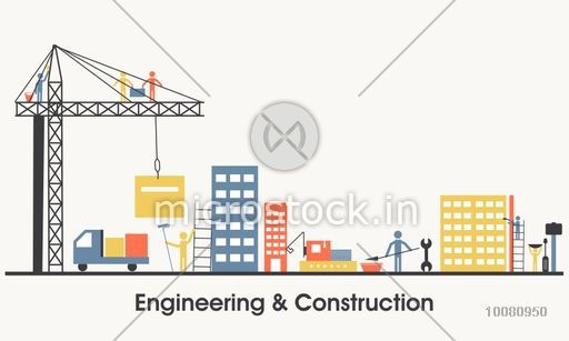 Modern flat style illustration of Engineering and Real Estate Construction Service, Building Architecture with Engineering Solution. One page Web Design template, Hero Image concept, Website Elements layout.