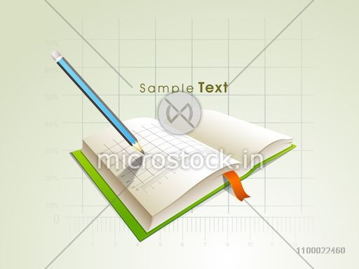 Vector infographic chart on a book with pencil for business concept.