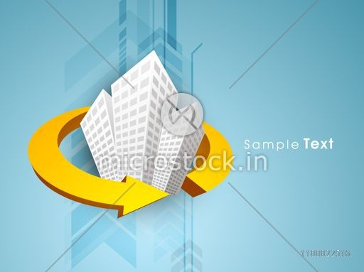 Illustration of a building covered by 3D arrow.