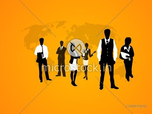 Black and white silhouette of young Business People communicating on world map background.