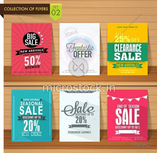 Set of six different Sale Flyers with fantastic discount offers on wooden background.