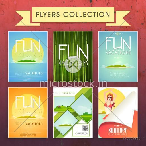 Collection of Summer Vacations Flyers decorated with beautiful beach view for tours and travels.