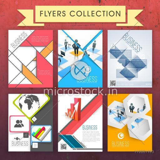 Set of six Business Flyers or Brochures design for corporate sector or professional presentation.