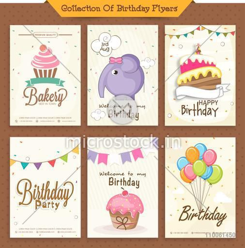 Collection of stylish Birthday flyers or invitation decorated with balloons, cakes and cute cartoon of an elephant.
