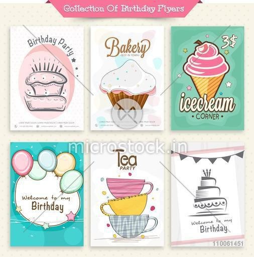 Birthday Party invitations set including flyers of Ice Cream Corner and Tea Party.