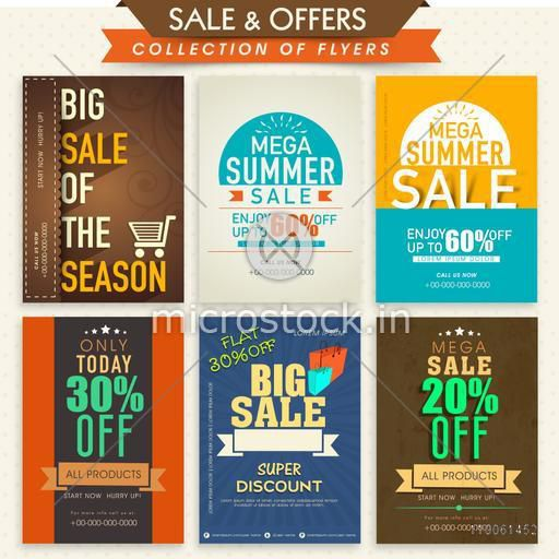 Set of six creative Flyers of Mega Sale with super discount offer on all product.