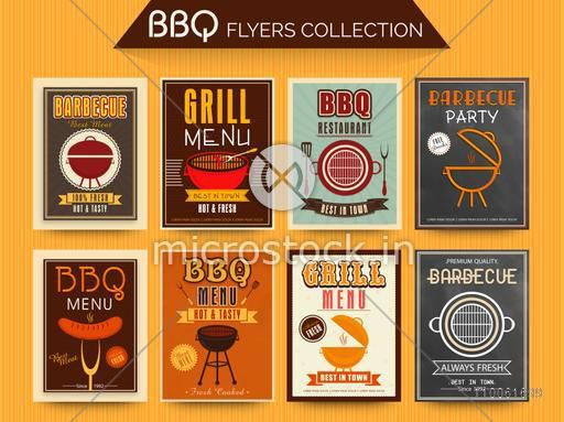 Collection of BBQ and Grill Menu Cards and Invitations in vintage and chalkboard style.
