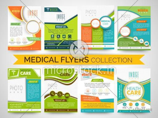 Medical and Health Care Flyers, Templates or Brochures set with place holders for image and content.