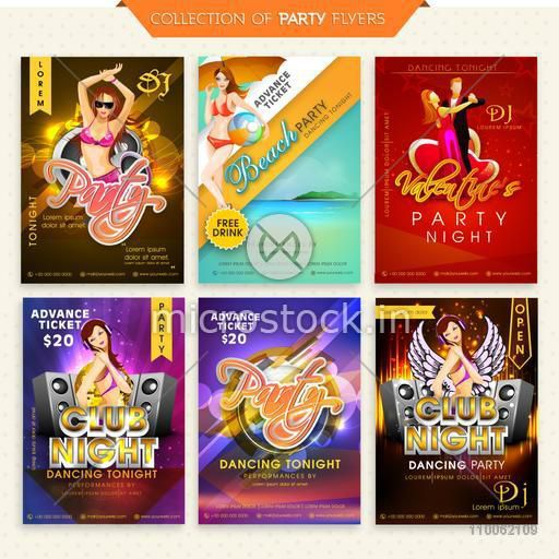 Collection of six different Flyers or Invitations for Party Night celebration.