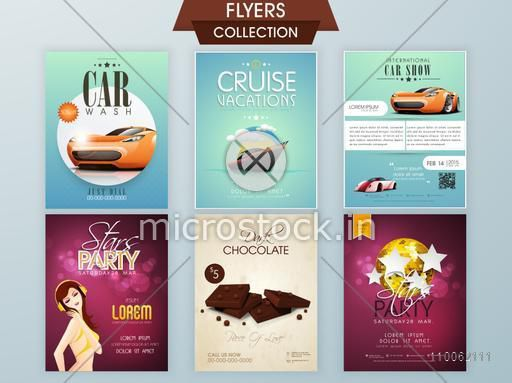Stylish flyers of Car Wash, Cruise Vacations, International Car Show, Stars Party and Dark Chocolate.