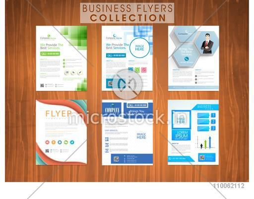 Set of creative professional flyers set with statistical graph and place holders for business content and images.