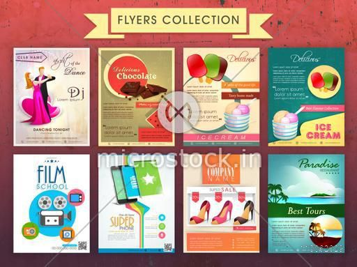 Collection of eight different stylish Flyers for business purpose.
