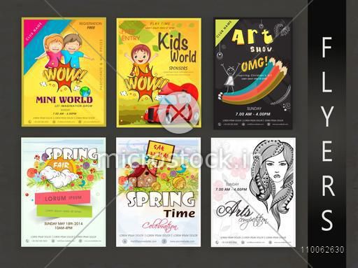 Collection of spring fair, art competition and kids world flyer, template or banner design.