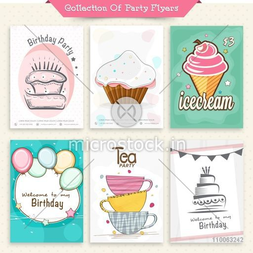 Set of six stylish flyers or invitation cards for birthday party and tea party celebration.