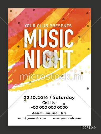 music night party celebration one page flyer banner or template