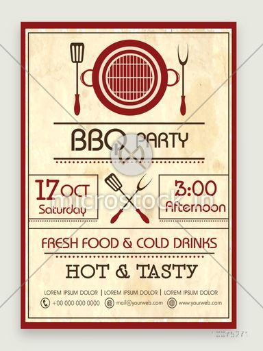 Stylish vintage Flyer, Banner or Pamphlet for Barbeque Party celebration with date and time details.