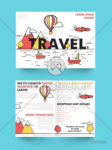 Creative Two Page Brochure, Template or Flyer design for Tour and Travel concept.