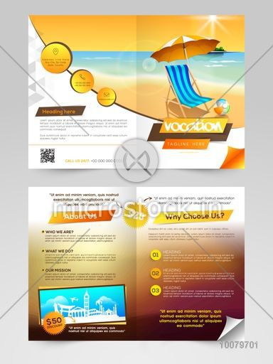 Creative Two Page Brochure, Template or Flyer design with view of a beach for Tour and Travel concept.