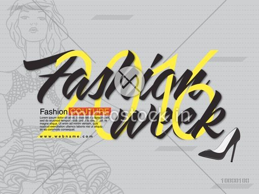 Fashion Week 2016, Flyer, Banner or Pamphlet with young fashionable girl.