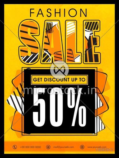 Fashion Sale Flyer, Sale Banner, Sale Poster, 50% Discount Offer. Vector illustration.