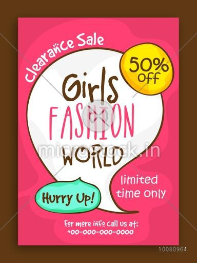 Girls Fashion World, Clearance Sale Poster, Sale Banner, Sale Flyer, 50% Discount Offer for limited time, Creative vector illustration.