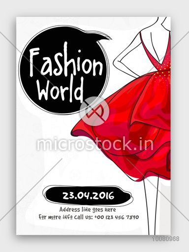 Fashion World Flyer, Template or Banner design with illustration of a young girl in modern dress.
