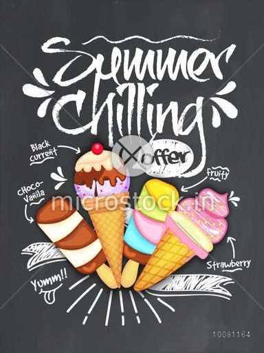 Summer Chilling Offer Template, Banner or Flyer design with different delicious ice-creams for food and drink concept.