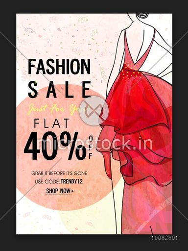 Fashion Sale Poster, Sale Banner, Sale Flyer, Flat 40% Off, Creative Sale Background with Illustration of a young modern girl.