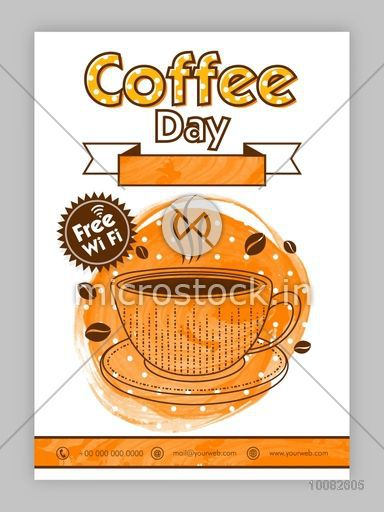 Coffee Day Template, Coffee Restaurant Brochure, Coffee Shop Menu design, Coffee House Banner, Creative background with illustration of a cup and blank ribbon.