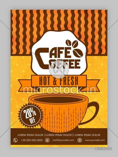 Coffee House Template, Coffee Restaurant Brochure, Coffee Shop Menu design, Cafe Coffee Banner, 20% off on hot and fresh coffee.