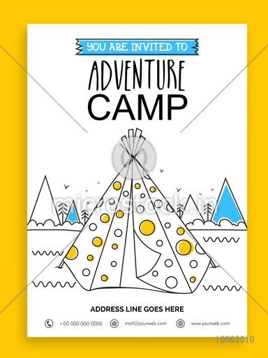 Adventure Camp Template, Summer Camp Banner or Flyer design with doodle illustration of a tent on nature view background.
