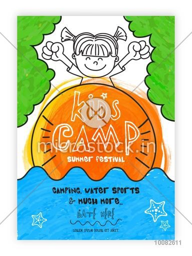 Kids Camp Template, Kids Summer Festival Banner, Kids Summer Party Flyer or Invitation Card design with doodle style illustration of cute happy girl on colorful background.