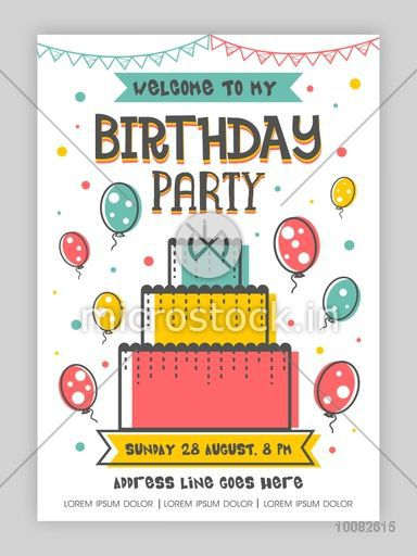 Birthday party invitation card or welcome card design happy birthday party invitation card or welcome card design happy birthday background with colorful big cake stopboris Choice Image