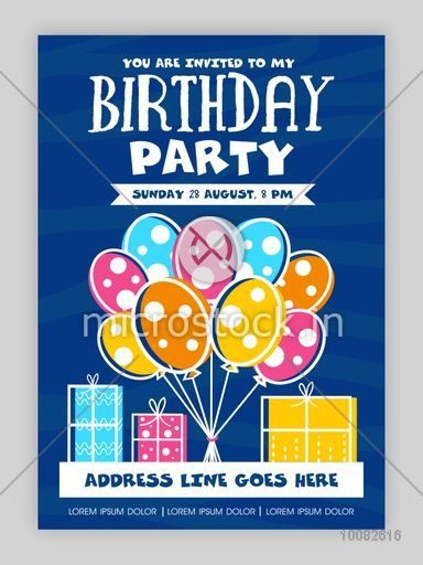 Birthday Party Invitation Card Design Happy Background With Colorful Balloons And Gifts Can
