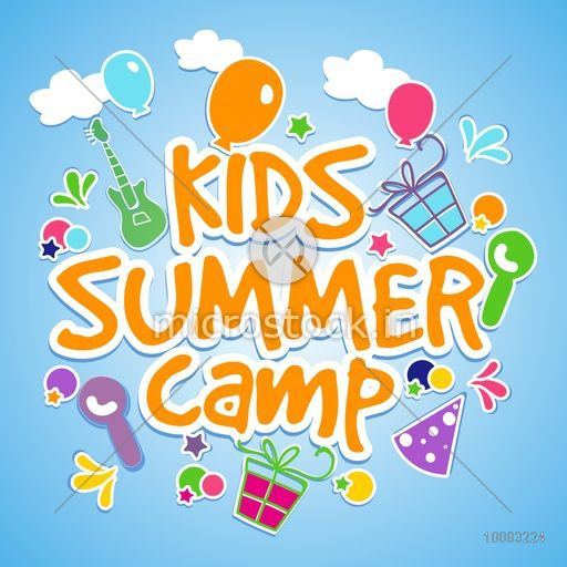 Kids Summer Camp Poster Banner Or Flyer Design With Colorful Elements On Shiny Sky Blue
