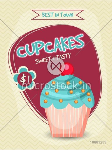 Capcakes Bakery Template, Banner, Flyer or Menu Card design with illustration of sweet and tasty cupcake.