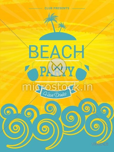 Beach Party Template, Summer Party Banner, Musical Party Flyer or Invitation Card design.