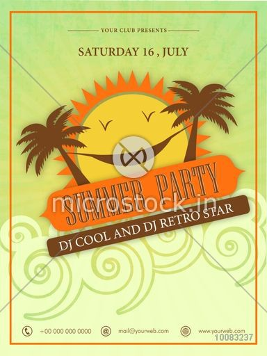 Summer Party Template, Beach Party Banner, Musical Party Flyer or Invitation Card design with creative funny sun and palm trees decorated background.