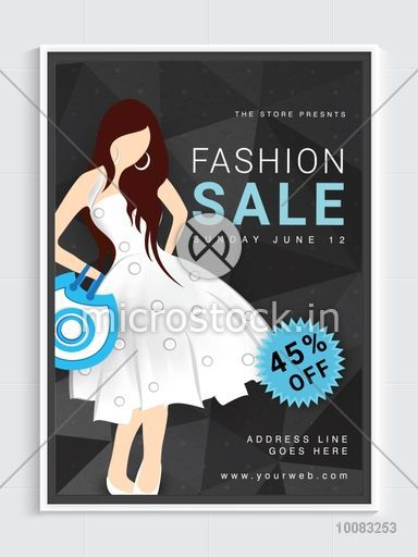 Fashion Sale Flyer, Sale Pamphlet, Sale Banner, Discount upto 45% Off with illustration of a young modern girl.