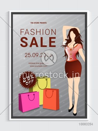 Fashion Sale Flyer, Sale Banner, Sale Pamphlet, Discount upto 25% Off, Sale Vector with illustration of young modern girl and shopping bags.